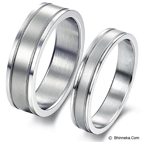 TITANIUM RING Cincin Couple Size 7(F) & 8(M) [GS219] - White & White - Cincin